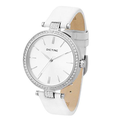 Dictac Damen Uhr Frauen Wasserdichte Analoge Quarz Zifferblatt Swarovski Kristall Elegant Leder Armbanduhr (Weiß)