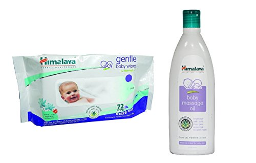 Himalaya Herbals Gentle Baby Wipes (72 Sheets) And Himalaya Herbals Baby Massage Oil (200ml) Combo