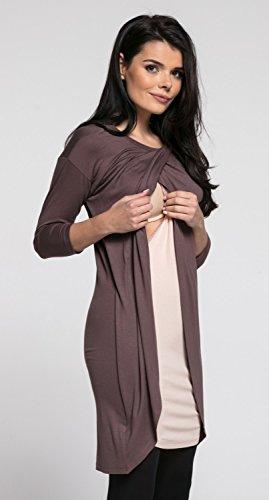 Happy Mama.Damen Umstandsmoden Kleid Stillkleid Lagendesign Wickeln-Schicht.033p Cappuccino