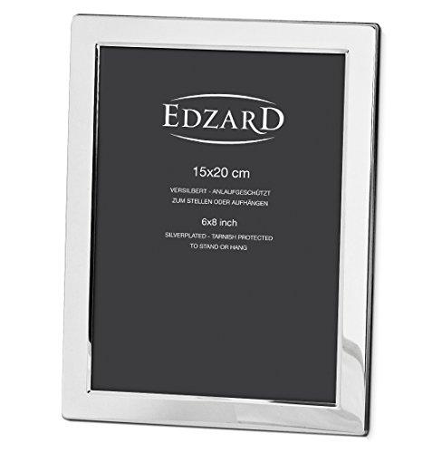 EDZARD Fotorahmen Salerno, edel versilbert, anlaufgeschützt, für Foto 15 x 20 cm
