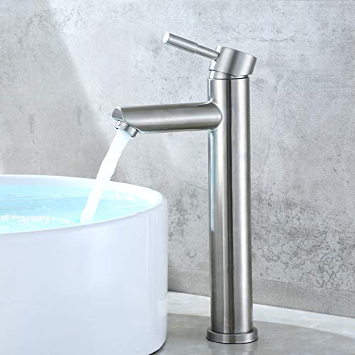 Boquilla recta de elevación de un solo agujero 304 acero inoxidable lavabo grifo de agua fría y caliente lavabo de cristal sobre encimera grifo de lavabo, plata
