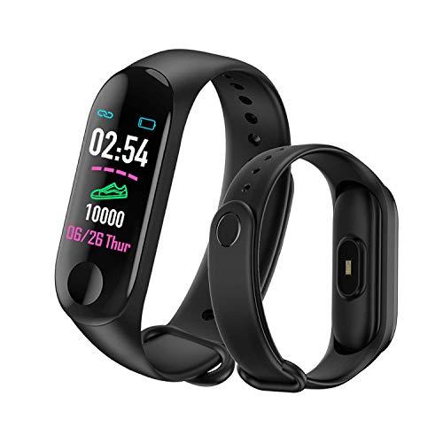 MATEYOU Tracker Fitness Impermeabile V3/M3 Versione Aggiornata per Donna, Tracker attività di Ricarica USB IP67, Regalo per Uomo e Donna, Standby di 10-15 Giorni (Nero)