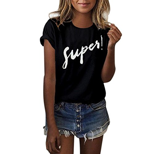 OSYARD Damen Brief Bluse T-Shirt Kurzarm beiläufige Lose Tops(EU 44/XL, Schwarz)