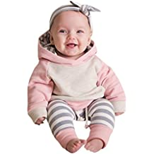 3pcs niño bebé chico niña ropa conjunto,Yannerr sudaderas tops + pantalones + diadema trajes