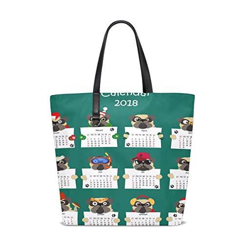 Lustige Mops-Hundekalender-Taschen-Taschen-Geldbeutel-Handtasche für Frauen-Mädchen