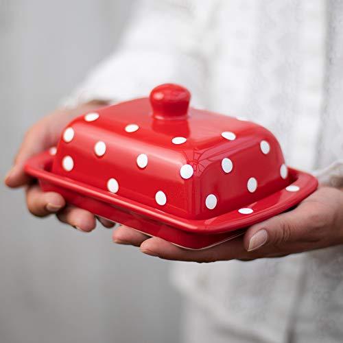 City to Cottage Beurrier rouge à pois blancs en céramique fait et peint à la main