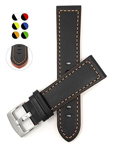 18mm Correa reloj de cuero auténtico, Negro Con Costura Naranja, hebilla de acero inoxidable, también disponible en negro avec azul, rojo, verde ou couture jaula
