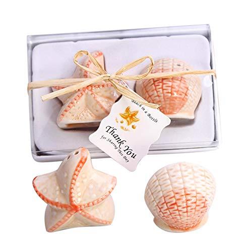Muschel-salz (Bonboniere/Gastgeschenk Salz- und Pfeffer--Streuer im Muschel- und Seestern-Design, aus Keramik)
