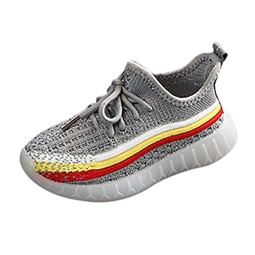 DIASTR Neugeborenes Kinder Jungen Baby Mädchen Freizeitschuhe Kinder Warme Sneaker Stiefel für Kleinkinder Leuchtende Fluoreszierende Regenbogenstreifen Atmungsaktiver Kinder-mesh-Sneaker 23-29 -