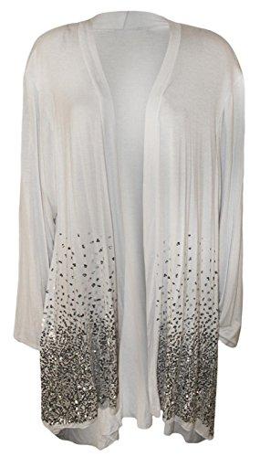 Top Fashion Dames Grande taille Paillette Briller Cardigan Femmes Manches longues Ouvert Étendue Haut EU Size 42-54 Blanc
