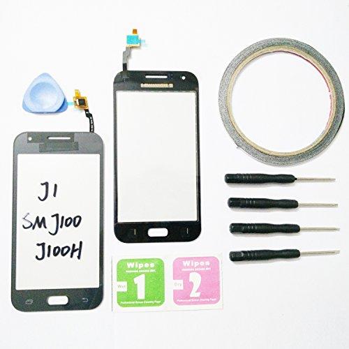 JRLinco Neu Display Scheibe Touchscreen Digitizer Glass Ersatz Für Samsung Galaxy J1 SM J100 J100H Schwarz + Werkzeug & Doppelseitig klebende +Reinigungsalkohol-Paket