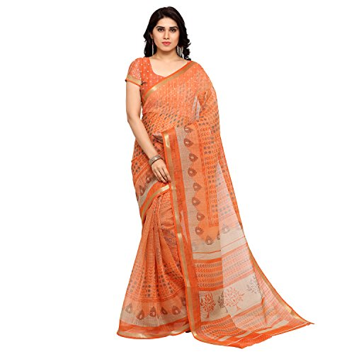 Ginigold Women's Cotton Saree With Blouse Piece (Samudrika14_Orange)