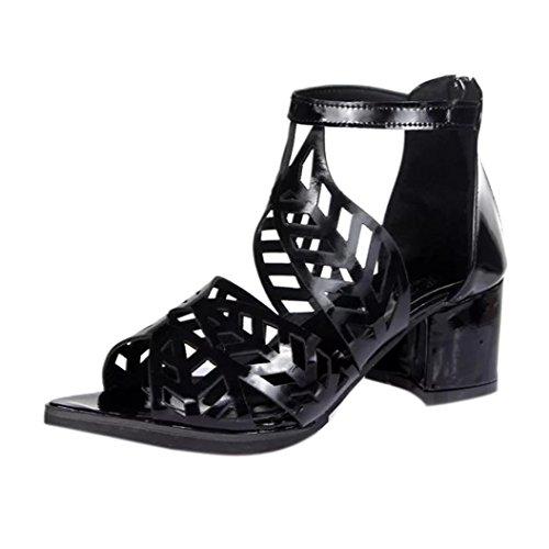 Hunpta Sandalen Damen, Vintage Sommer Frauen Schuhe Sandalen Plattform Keil High Heels Bohemian Schuhe (34, Schwarz) (Plattform Heels Sandalen High Keil)