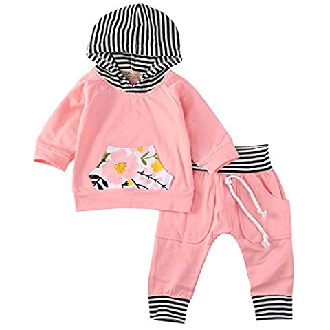 Newborn Baby Girls Warm Hoodie T-shirt Top + Floral Pants Outfits Set Kids Clothes (3-6M, orange)