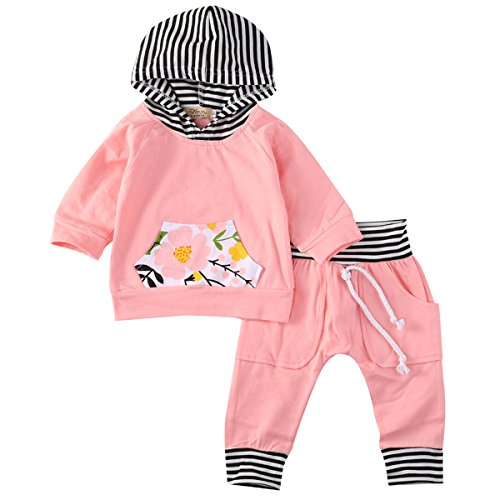 Newborn Baby Girls Warm Hoodie T-shirt Top + Floral Pants Outfits Set Kids Clothes (12-18M, orange)