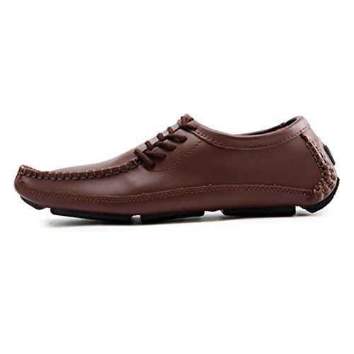 Hommes Loisirs Mode Chaussures Chaussures de Conduite en Cuir Lacets Mocassins Marron