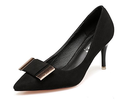 Aisun Damen Elegant Schleifen Metall Suede Low Cut Spitz Stiletto Pumps Schwarz 40 EU