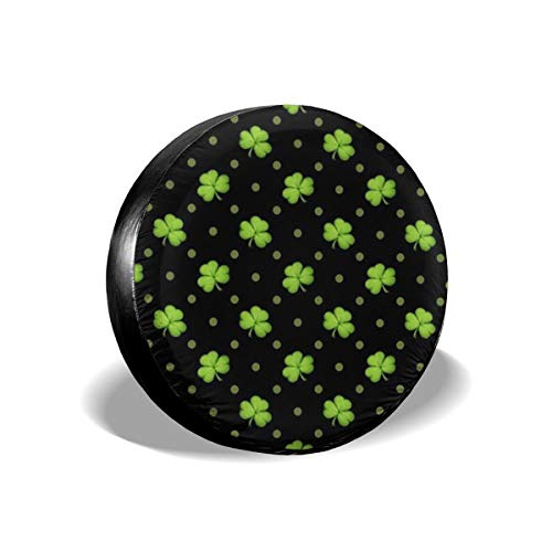 Bag hat St. Patrick's Day Lucky Shamrocks Black Tire Cover Polyester Universal Spare Wheel Tire Cover Wheel Covers Jeep Trailer RV SUV Truck Camper Travel Trailer Accessories 16 inch