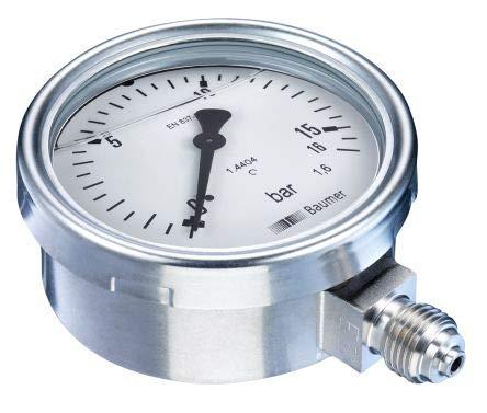 Sensotec Manometer aus Edelstahl, Reichweite 0 bis 16 bar, Füllung Glycerin 100 mm, Modell MEX5-D31.B24 -