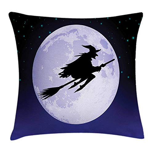 illow Cushion Cover, Witch Flying Past Full Moon on Starry Night Sky Dangerous Magical Halloween, Decorative Square Accent Pillow Case, 18 X 18 inches, Black Violet Blue ()