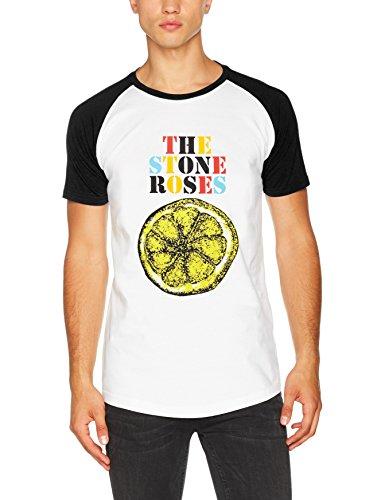 Rockoff Trade Herren T-Shirt Stone Roses Lemon Multicolour Raglan Weiß