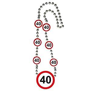Collar 70cm Medallón Verkehrsschild Zahl 40 Geburtstag Partido Deko