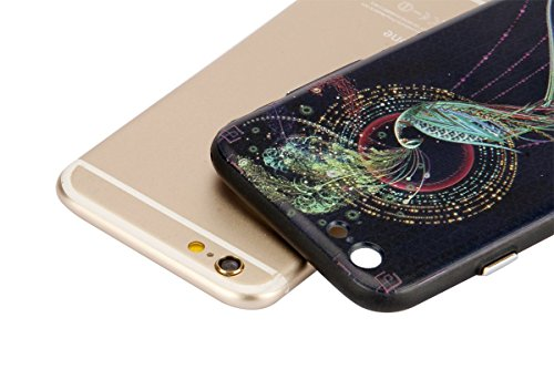 Custodia per iPhone 6/6S plus 5.5, Ukyfe Case Cover Morbido in Silicone Gel e TPU Smartphone Accessori di Protettiva Cassa Caso in Premio Poliuretano Gel Gomma Anti Scivolo Ammortizzante Bumper Frame  pavone