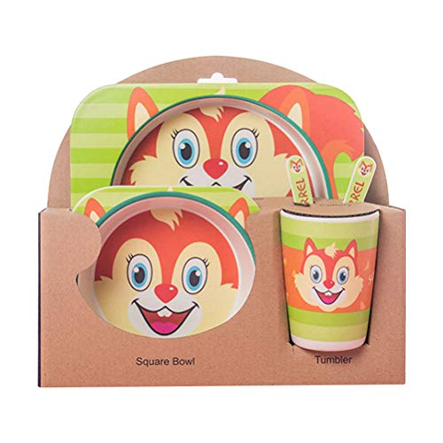 5pcs / Set Vajilla Niños,GZQ,Juegos de vajilla Animal para comer,cubiertos y tazon Fibra de bambú Natural bebé e Infantil (Ardilla)