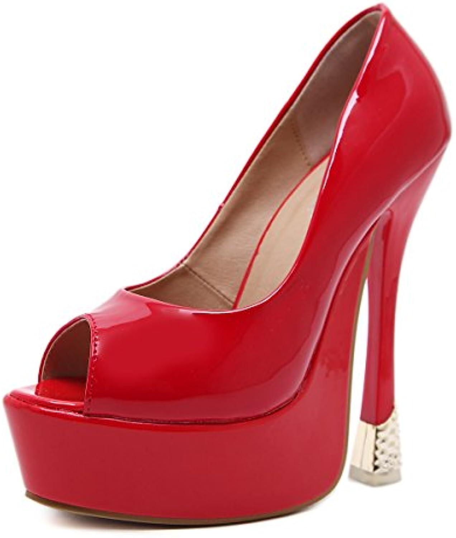 ZHZNVX El Nuevo Muelle Ultra Delgado y con PU Impermeable Peces Taiwán Apenas Singles Femeninos Zapatos, Rojo,40 -