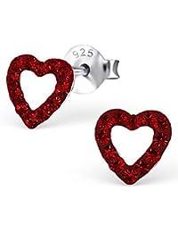 Unbespielt joyería pendientes pequeños 925 Crystal pernos prisioneros del oído de la corazón para las mujeres o los niños de 6 x 6 mm rojas. incluyendo caja de la joyería