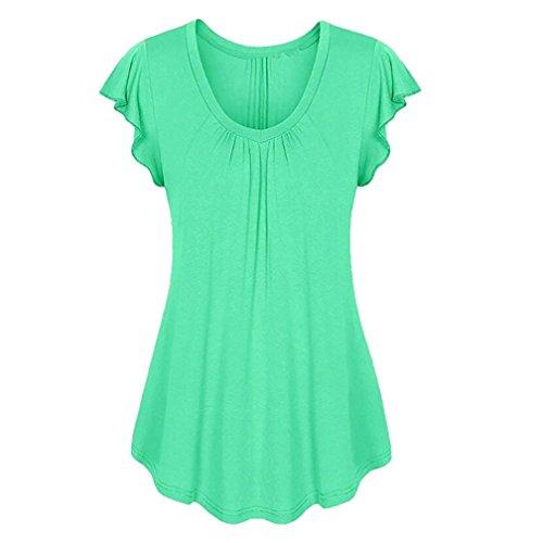 ESAILQ Damen Rundhals Kurzarm T-Shirt Tops mit Allover Anker Print Frauen Casual Druck T-Shirt(L,Grün)