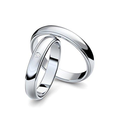Eheringe Verlobungsringe Trauringe Freundschaftsringe Silber 925 mit Zirkonia Stein inklusive Luxus-Etui Ringpaar Partnerringe Hochzeitsringe Paar-Preis nickelfrei klassisch ER88SS925ZIFA-5466