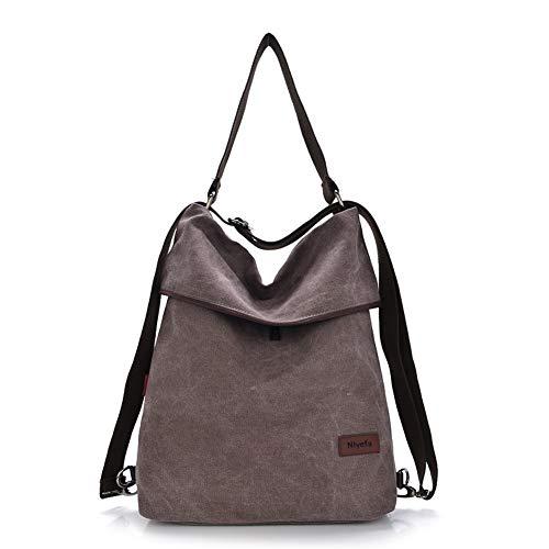 Nlyefa Damen Handtasche Rucksack Canvas Tasche Umhängentasche Schultertasche 2 in 1 Multibag, EINWEG -