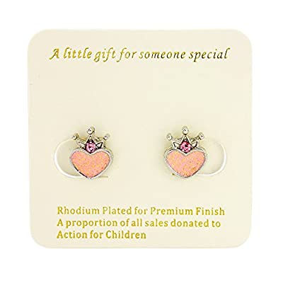 Signed With a Kiss Heart Princess clip on earrings for girls - Childrens earrings clip on includes organza bag