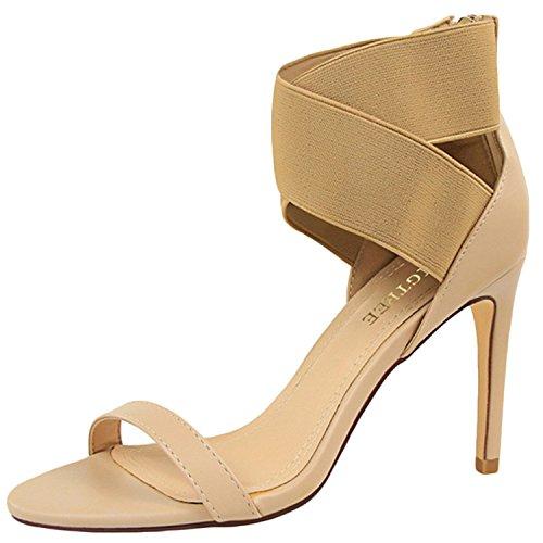 Azbro Women's Open Toe Cross Elastic Strap High Heels Sandals Khaki