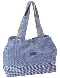 Savebag 16728 - Sac Shopping-plage en Coton beige-bleu - 41x13x32 cm