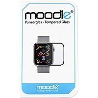 moodie Apple Watch 4-44mm Panzerglas 3D Folie mit schwarzen Kanten Premium Glasfolie für Gewölbte Displays 3D Panzerglasfolie Curved - Full Cover vollständige Display Abdeckung