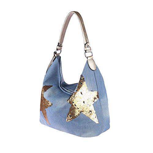 OBC design italiano XXL donna Stella Borsetta Tela Cotone In strass Oro-argento Bowling Borsa marsupio Hobo-Bag Manico Shopper CrossOver - BLU 48x30x17 cm, ca 48x30x17 cm ( BxHxT ) jeans blu-oro (paillettes)