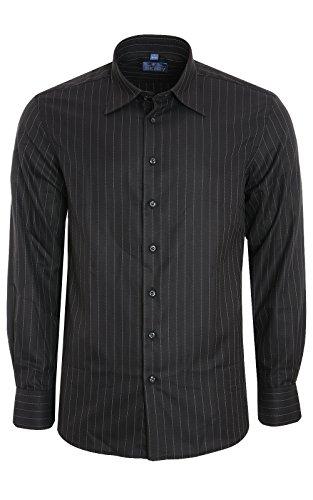DERBY OF SWEDEN Hemd Herren Nadelstreifen-Hemd Business-Hemd Schwarz Shirt, Größenauswahl:S (Herren-nadelstreifen-hemd)