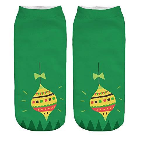 Zolimx Damensocken Weihnachtensocken Frauen 3D Print Cartoon Cute Christmas Erstaunliche Neuheit Söckchen Baumwolle Socken