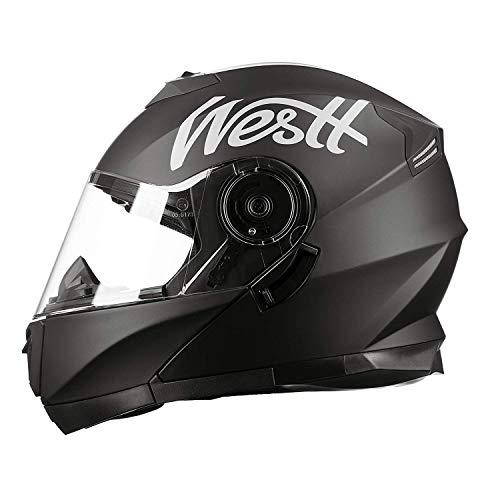 Westt Torque X - Modularer Motorradhelm mit Doppelvisier - Mattschwarz - Stoßdämpfendes Motorrollermotorrad - ECE-zertifiziert