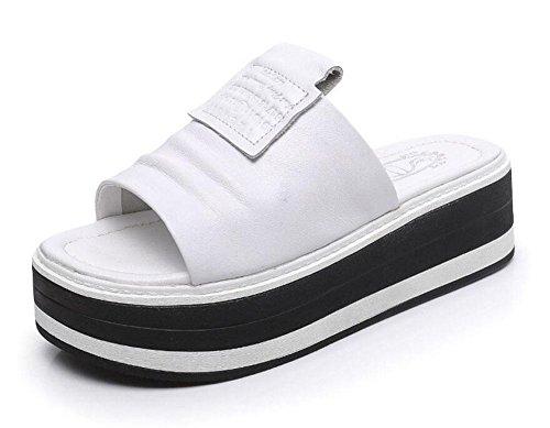 Donne Sandali Cuoio Pantofole Sottili Inferiori Delle Signore Delle Signore Impermeabili Pattini Antisdrucciolevoli Della T-Strap Della Piattaforma White