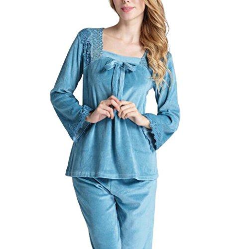 HAIYUANNAN Frauen Samt Dicke Pyjamas Herbst Und Winter Lange äRmel Hose GroßE GrößE Zwei SäTze Von Warmen Hause Service, 170 (XL) -