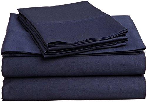 Von aashi 4PCS Bed Sheet Set Scala (38,1cm Taschen) Ägyptische Baumwolle, baumwolle, Navy Blue Solid, Short Queen -