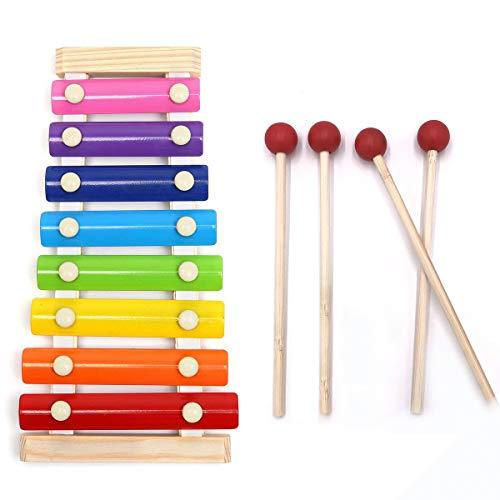 Anlock Holz Xylophon für Kinder, 8-Notes Tastatur Multicolor Kinder Musical Spielzeug für Geschenk Weihnachten Geburtstag Mit 4 Stück Kindersicheren Hölzernen Schlägel