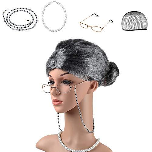 Brille Kostüm - Beelittle Old Lady Kostüm Großmutter Cosplay Zubehör Set - Oma Perücke Perücke Kappe Brille Brillen Ketten Armband Perlenkette - 5 Stück