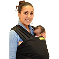 Baby Booboo Panno Fascia Wrap - Imbracatura Porta Bebè Baby Sling Wrap - Morbida Fascia per Trasporto Neonato Soft Baby Carrier - Favoloso Regalo Nascita Bebè (Nero)