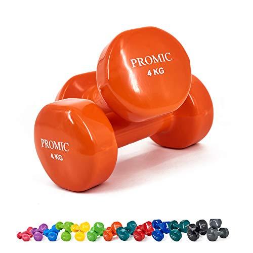 ProMic 1lb di 9mano sollevamento pesi Deluxe rivestito in vinile manubri allenamento aerobico Fitness, Set di 2, Orange, 2 x 4 kg
