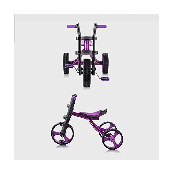 Childrens Tricycles 2 To 5 Years Easy Installation Kids' Trikes Anti-slip Pedals The Seat Can Be Adjusted Back Kids Tricycle Maximum Weight 25 Kg,Purple BGHKFF ★Material: Steel frame + TPR plastic, suitable for children aged 2-5, maximum weight 25 kg ★ Size: 57.5*25.5*38 cm/22.6*10*15inchs ★Cushion: sponge-filled, artificial PU leather, shock absorption, protect your baby's butt, soft and comfortable, dry and breathable, environmentally friendly 8
