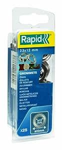 Rapid, 5000413, Œillets de Renfort, ø12x23mm, 25 pièces, Pour renforcer les ouvertures